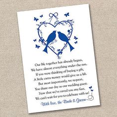Money Poem, Funny Poem, Wedding Wishing Well Poem, Wedding Gift Poem ...