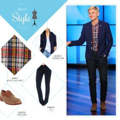 Ellen's Look of the Day: navy blazer, plaid button up, jeans, saddle shoes