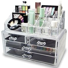 Ikee Design® Acrylic Jewelry & Cosmetic Storage Display Boxes Two Pieces Set.