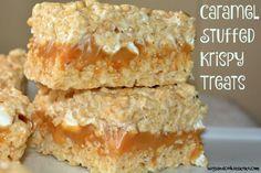 Caramel Stuffed Krispy Treats - Hugs and Cookies XOXO