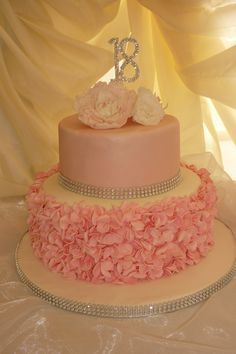 pink 18th birthday cake we made. Ruffles and peonies .