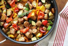 Morningstar veggie sausage with summer bell peppers and zucchini sauteed with baby red potatoes and fresh herbs for a quick one pot meal.