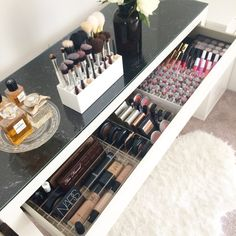 Makeup Organization Makeup storage organiser Dividers Complete by VanityCollections Makeup Storage Organiser, Makeup Storage Hacks, Makeup Organization, Storage Organization, Make Up Storage, Small Storage, Diy Storage, Storage Ideas, Storage Boxes