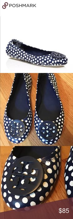 Tory Burch Polka Dot Minnie Travel Sea Shore They have signs of wear at the tow and a bit of fading on the side- I've tried my best to show this in the pictures Tory Burch Shoes Flats & Loafers