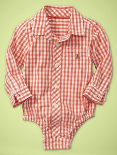 Orange Baby Boy Collar Onesie