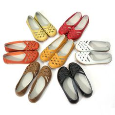 US$15.98 Hot-sale Hollow Out Leather Breathable Casual Slip On Moccasin Ballet Flat Shoes - NewChic