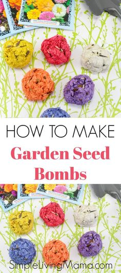 Learn how to make garden seed bombs with paper with this DIY seed ball tutorial. These flower seed bombs are a great activity for kids!