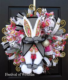 Spring Easter Wreath  Easter Deco Mesh Wreath  Spring Easter