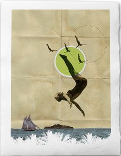 """Summer-Fine Art Collage Illustration Print Handmade Paper 8 x 12"""", Woman in Bathing Suit jumping into water at the beach."""