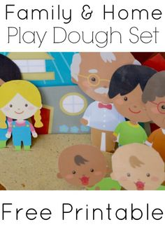 Free Play Dough Printable: Family and Home great for open-ended pretend play, speech and language therapy, role-play and much more! Get your free set!