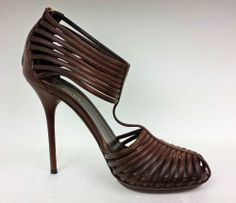 Love Authentic GUCCI Womens Brown Leather Multi Strap High Heels Sandals size 37.5