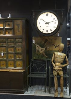 Battersea Decorative Fair - Spring 2014 – Drew Pritchard Ltd Salvage Hunters, Antique Stores, Industrial Chic, Spring 2014, Modern Living, Retro Vintage, Old Things, Clock, Interiors