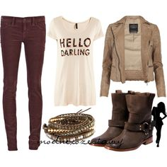 I like this but would wear boot cut blue jeans instead of brown skinnies. Otherwise, hot!