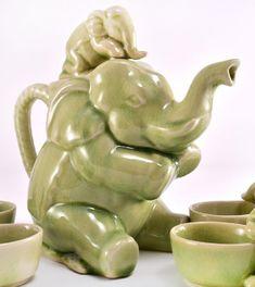 Thai Celadon Elephants Tea Set - Teapot & Cups - Animal Teapot Tea Pot
