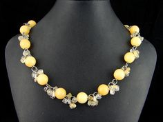 Argon and Citrine necklace My Wife Is, Studios, Beaded Necklace, Jewelry Design, Chain, Beaded Collar, Pearl Necklace, Necklaces, Studio