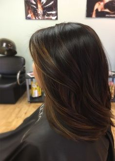 Balayage for dark hair, brown highlights for black hair, asian - indian - ethnic hair types. keep your hair beautiful with Hair Color Highlights, Highlights For Asian Hair, Subtle Highlights, Lowlights For Black Hair, Black Hair With Brown Highlights, Balayage Hair Dark Black, Balayage Color, Dye Black Hair Brown, Orange Brown