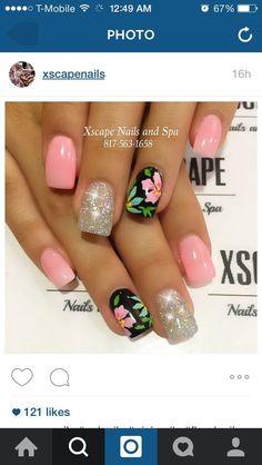 Make an original manicure for Valentine's Day - My Nails Beach Nail Designs, Nail Art Designs, Tropical Nail Designs, Tropical Nail Art, Tropical Flower Nails, Toe Nails, Pink Nails, Hawaiian Nails, Uñas Fashion