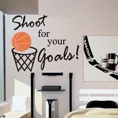 Vinyl Wall Lettering Words Quotes Decals Basketball Shoot for your Goals. $13.00, via Etsy.