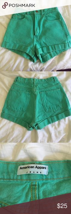 Mint American Apparel High Waisted Shorts Very snug American Apparel shorts that make your butt and waist look 🔥🔥 More mint in color than the photo of them modeled American Apparel Shorts Jean Shorts