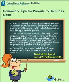 Homework tips for parents to help their child.  www.LD.org/homework101 Study Habits, Study Tips, Co Teaching, Teaching Ideas, Play To Learn, Learn To Read, Learning Centers, Kids Learning, Disability Help