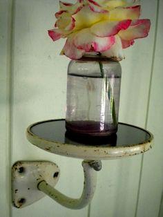 Repurposed Vintage Truck Mirror Into Farmhouse Wall Shelf!