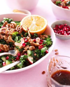 """Seyran op Instagram: """"Nutty Kale & Pomegranate Salad with Sweet & Savory Ginger Soy Dressing, perfect for Christmas!  Wish you a nice relaxing Sunday✨ Much…"""" Pasta Salad, Cobb Salad, Soy Ginger Dressing, Pomegranate Salad, Kale, Salads, Vegan Recipes, Sunday, Ethnic Recipes"""