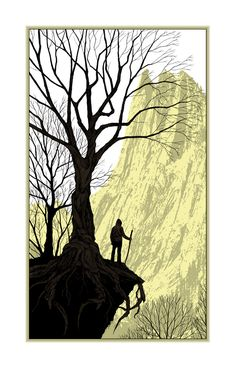 "'It Felt Good to be Lost"" screenprint by Dan McCarthy. www.danmccarthy.org. Tags: Linocut, Cut, Print, Linoleum, Lino, Carving, Block, Woodcut, Helen Elstone,  Mountains, Hills, trees, Walker, Silhouette, Climber."