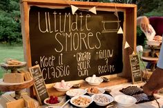 S'mores station - easy desert option! (This pic is from my friend's outdoor forest wedding with the reception under a park shelter).