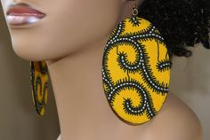 Large Fabric Covered Earrings Yellow Print by ZTGabbyCreations, $16.00
