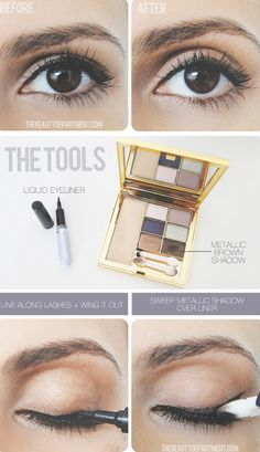 32 Makeup Tips That Nobody Told You About. Soften the harsh liquid eye liner line with metallic brown shadow over the liner.