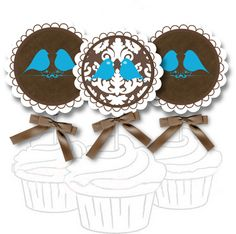 Free Printable Cupcake Toppers and Bunting - Damask Bird