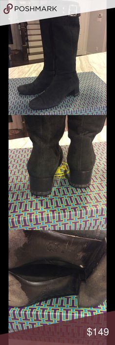 Tory Burch Deanna Boots Gently used TB Deanna black suede leather boots with platinum hardware.  Ships w/o box. Tory Burch Shoes Heeled Boots