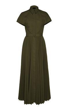 Brandon Maxwell Pleated Poplin 'Olive' Shirt Dress-Meghan Markle - Dress Like A Duchess Dress Skirt, Dress Up, Midi Shirt Dress, Check Mini Skirt, Olive Shirt, Minimal Dress, Dresses Australia, Look Chic, Modest Fashion