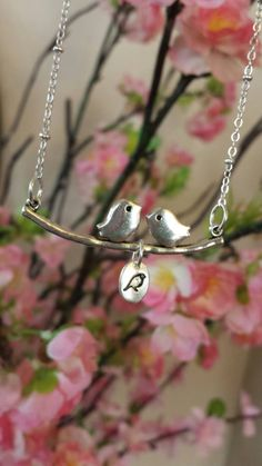 "Bird branch family necklace - Customize the number of ""babies"" on your own personal branch by SarahBerryDesigns on Etsy"
