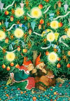 gnomes ' modern Rare new postcard by Inge Look Dibujos Cute, Whimsical Art, Christmas Pictures, Yule, Old Women, Faeries, Monet, Vintage Christmas, Christmas Tree