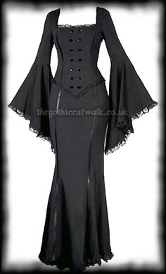 Long Black Fitted Gothic Dress