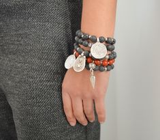 LAVA beads PHAISTOS disc pendant bracelet, bohemian lava beads bracelet, gypsy ethnic boho silver beaded bracelet, ancient greek jewelry