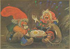 Nisser eating porridge offered to them during Yule by Theodor Kittelsen