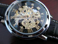 Elegant Luxury Automatic Mechanical Wrist Watch with Black Leather Wristband - Steampunk - Best Man - Groomsmen Gift - Watch - Item MWA08 on Etsy, $58.00