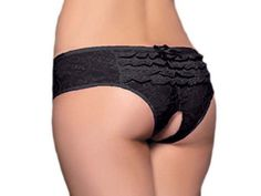 awesome Women's Ruffle Back Lace Boyshort With Open Crotch - For Sale
