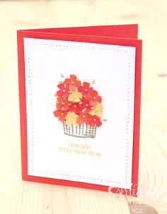 The Sprinkles of Life stamp set makes a difference and cute cards. I love how the flower from the Itty Bitty Accents Punch Pack fills the basket. -Kaitlyn Zumbach