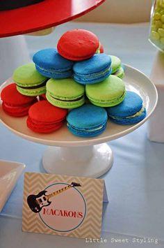 colorful macarons dessert table rock star guitar boy birthday party ideas www.spaceshipsandlaserbeams.com #boy #party #boypartyideas