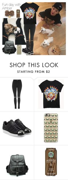 """""""Fun day with Amber"""" by theycallmebeatriz ❤ liked on Polyvore featuring Topshop, Forever 21, adidas Originals, Casetify, Chicwish, amber, kpop, fx and amberliu"""
