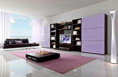 Purple Brown Cabinet Living Room