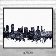 San Diego Print, San Diego Skyline, San Diego California, City Wall Art, City Skyline Prints, Skyline Art, Office Wall Art, ArtPrintZone #ArtPrint #CityArtPrint #OfficeDecoration #CitySkylineArt #SanDiegoPrint