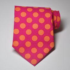 orange and pink | Necktie Hot Pink and Orange Polka Dots for Men or by MeandMatilda