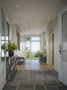 Slate flooring, transition into wood