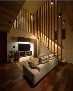 Wooden staircase with lighting design - M4 House in Japan designers by Architects Show