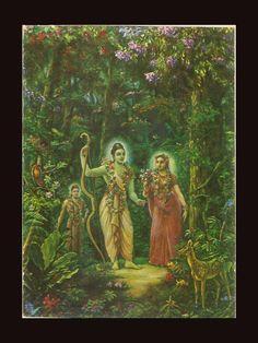 Sita Rama, with Lakshman, Print from Shrimad Bhagavatam, art direction by Shri Swami Prbahupada Hey Ram, Shiva, Krishna, Sri Rama, Religious Pictures, Hindu Deities, Flower Making, Real People, Art Direction