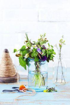 Puutarha sisälle   Kotivinkki Planting Flowers, Glass Vase, Anna, Table Decorations, Plants, Home Decor, Decoration Home, Room Decor, Plant